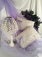 White Lamp with Lavender Fabric and Lavender Print Pillows
