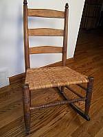 Woven seat, small, antique wood rocker